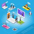Isometric social network. Growth background with person lines mobile computer tablet and laptop, circles and integrate flat icons. Connected symbols for business digital, Vector illustration