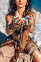 Beautiful Young Woman Hands Holding Sand Close Up On The Beach