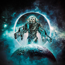 Berserker Skeleton Military Astronaut / 3D Illustration Of Science Fiction Scene Showing Evil Skull Faced Space Soldier With Laser Pulse Weapons Rising Above Moon