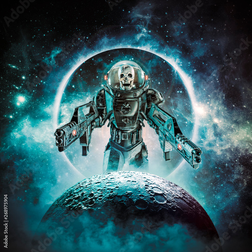 Fotografia Berserker skeleton military astronaut / 3D illustration of science fiction scene