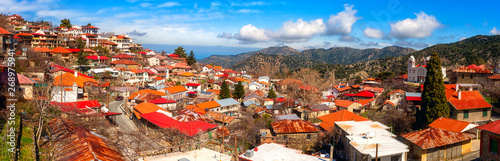 Pedoulas cozy village in Troodos mountains, Cyprus, panoramic view Fototapet