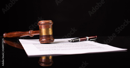 Still Life Legal Concept with Contract, Pen and Judge's Gavel