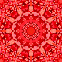 Red Abstract Seamless Triangle Mosaic Tile Kaleidoscope Mandala Pattern Wallpaper - Symmetrical Vector Background Graphic