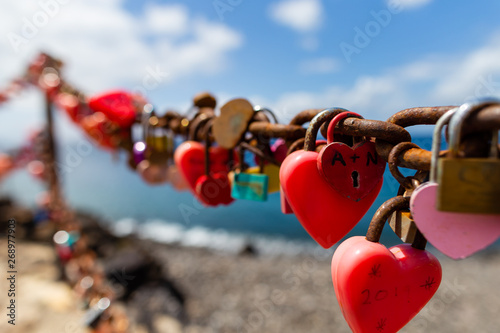 Heart locks on the wall Lanzarote.  Canary islands, Spain.