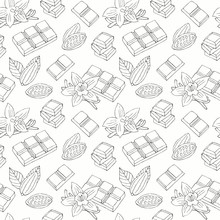 Chocolate Hand Drawn Seamless . Surface Decoration With Vanilla Flower, Cacao Bean. Vector Background.