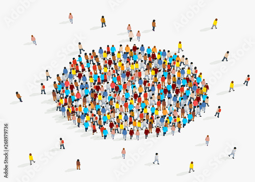 Fotografía  Template for advertising brochure with people crowd in shape of circle