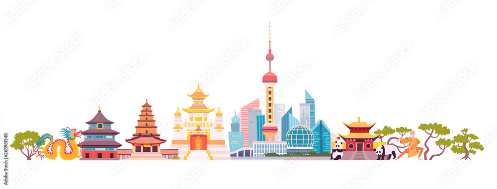 Fototapeta China skyline colorful background. Famous China building. China hand drawn vector illustration. Chinese travel landmarks/attraction. Vector illustration isolated on white background