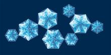 Geometrical Snowflakes Vector ...