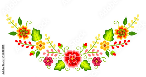 Photo  Mexican colorful bright floral corner decoration isolated on white