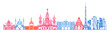 Russia skyline vector. Travel and tourism background. Vector illustration Russia skyline vector. landmark Kremlin palace, TV tower and St. Isaac's Cathedral illustration. Church of Kizhi And Moscow