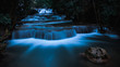 long exposure waterfall in the park at night
