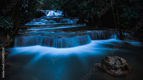 Aluminium Prints Forest river long exposure waterfall in the park at night