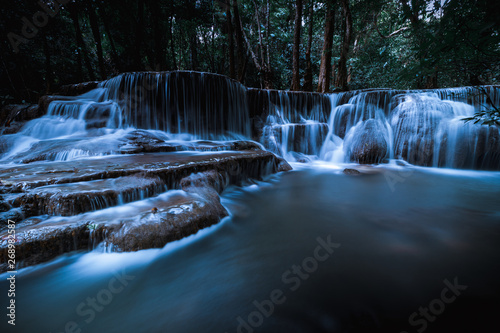 Canvas Prints Forest river long exposure waterfall in the park at night