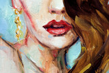 Portret ilustracja impastowy obraz olejny, kobieta z pomadką - 268983994
