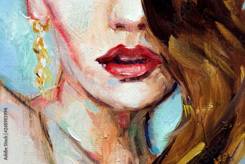 Fotografía  Ritratto illustrazione di dipinto ad olio ad impasto, donna con rossetto