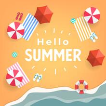 Hello Summer Tropical Beach Top View Banner Template.