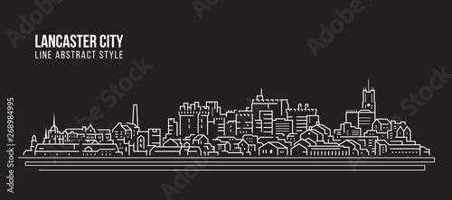 Valokuvatapetti Cityscape Building Line art Vector Illustration design -  Lancaster city