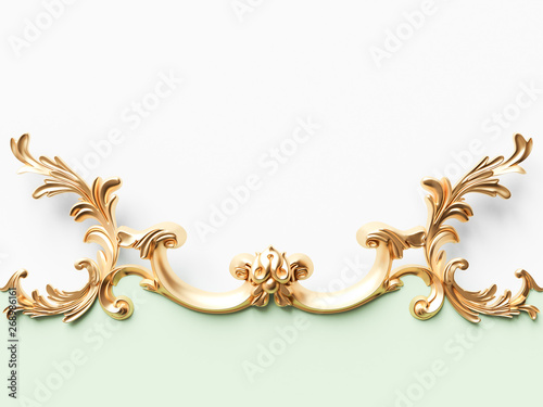 Foto  Vintage gold card with ornament decoration
