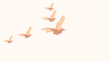 Flying Bird Lowpoly Animal Groups On Concept Modern Art And Yellow Pastel  Background  - 3d Rendering