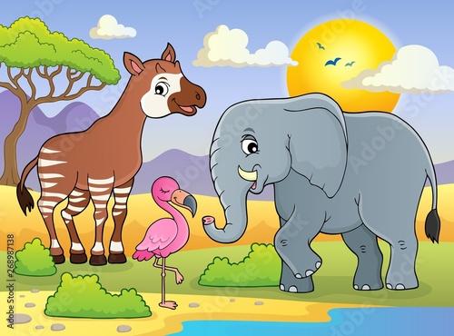 Stickers pour porte Enfants African nature theme image 7