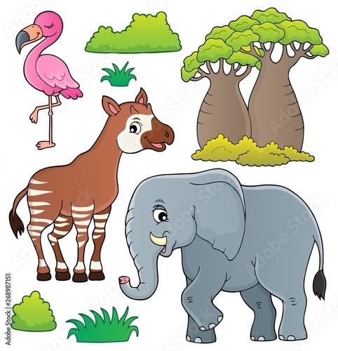 Stickers pour porte Enfants African nature theme set 4