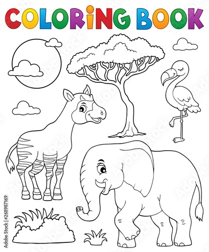 Stickers pour porte Enfants Coloring book African nature topic 6