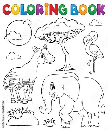 Fotobehang Voor kinderen Coloring book African nature topic 6