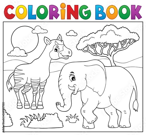 Stickers pour porte Enfants Coloring book African nature topic 7