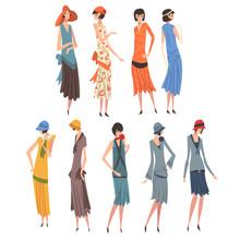 Elegant Woman In Retro Dresses Set, Beautiful Girls Of 1920s, Art Deco Style Vector Illustration
