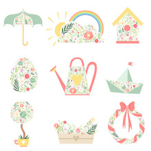 Cute Spring Symbols Decorated With Floral Seamless Pattern Set Vector Illustration