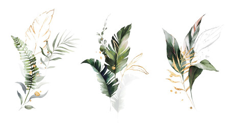 Fototapeta watercolor and gold leaves. herbal illustration. Botanic tropic composition. Exotic modern design