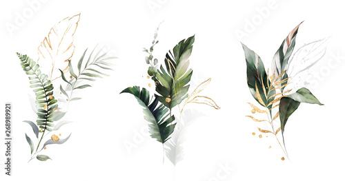 Obraz  watercolor and gold leaves. herbal illustration. Botanic tropic composition.  Exotic modern design - fototapety do salonu