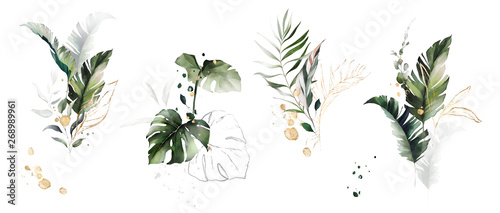 Fototapeta  watercolor and gold leaves. herbal illustration. Botanic tropic composition.  Exotic modern design obraz