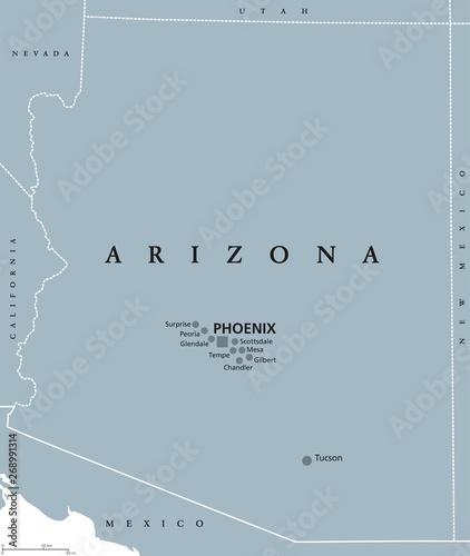 Arizona political map with capital Phoenix. State in ...