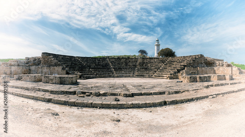 Fotografering Ancient Odeon amphitheatre in Paphos Archaeological Park (Kato Pafos), harbour of Paphos, Cyprus, panoramic view
