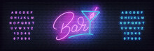 Bar Neon Template. Glowing Let...