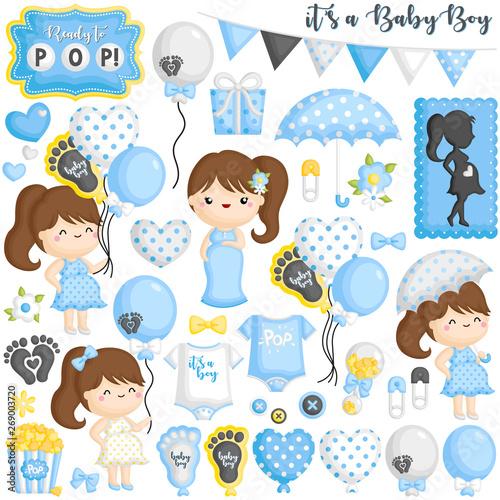 Spoed Foto op Canvas Wanddecoratie met eigen foto A Vector Set of Pregnant Moms who is Ready to Pop the Baby Boy Soon