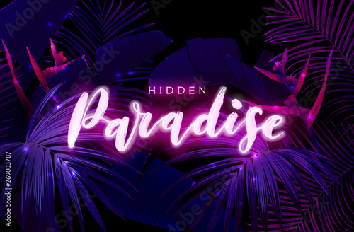 Dark Blue And Violet Neon Tropical Design With Palm Leaves And 3d Lettering Summer Night Vector Illustration Buy This Stock Vector And Explore Similar Vectors At Adobe Stock Adobe Stock Bright glowing leaves, cyber floral frame and leafs in neon lights vector background set. dark blue and violet neon tropical