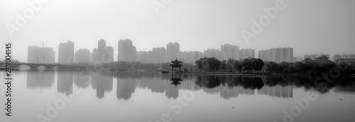 Black and White Ink Skyline of Urban Park