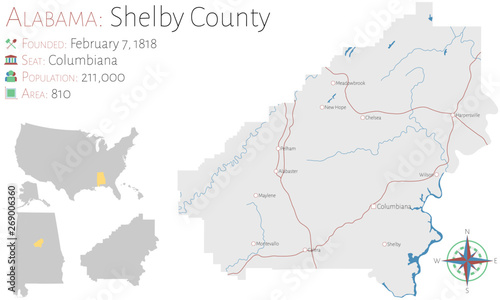 Photo  Large and detailed map of Shelby county in Alabama, USA
