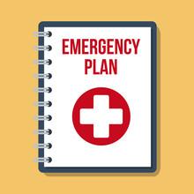 Emergency Plan Documents In Paper Binder, Vector Flat Illustration