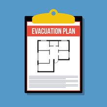 Evacuation Plan In Clipboard, Vector Flat Illustration