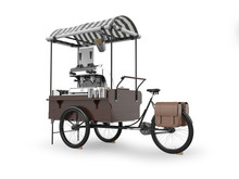 Street Coffee Cart 3D Rendering Isolated On White