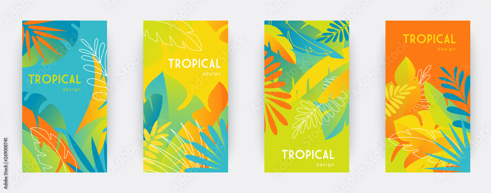 Fototapeta Tropical themed banners set. Creative compositions of colorful palm leaves and branches. Abstract geometric design templates for posters, covers, wallpapers with place for text. Flat style vector