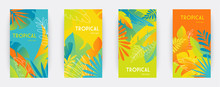 Tropical Themed Banners Set. Creative Compositions Of Colorful Palm Leaves And Branches. Abstract Geometric Design Templates For Posters, Covers, Wallpapers With Place For Text. Flat Style Vector