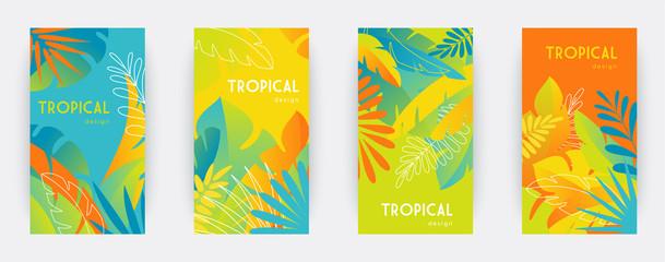 Set natpisa s tropskom tematikom. Kreativne kompozicije šarenih palminog lišća i grana. Apstraktni predlošci geometrijskog dizajna za plakate, naslovnice, pozadine s mjestom za tekst. Ravan stil vektora