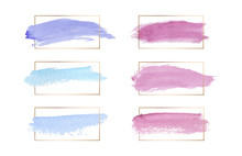 Pink, Blue And Purple Colors Brush Stroke Watercolor Texture Wirh Gold Lines Frames. Geometric Shape With Watercolor Washes. Trendy Templates For Banner, Flyer, Poster, Greeting, Wedding Invitation