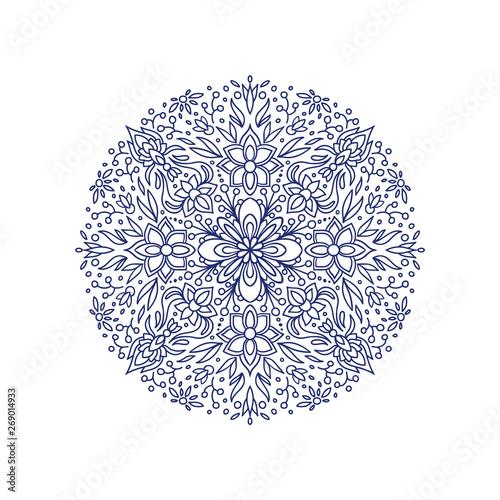 Hand drawn floral mandala. Adult coloring book vector page. Wallpaper Mural
