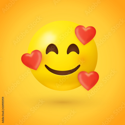 Fotografía  Emoji with hearts - in love face - emoticon face with smiling eyes, rosy cheeks,