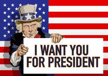 Concept Pour L'élection Du Président Des états-Unis Avec Comme Symbole L'Oncle Sam, Désignant Le Candidat Qui A Sa Préférence, Pour 2020.
